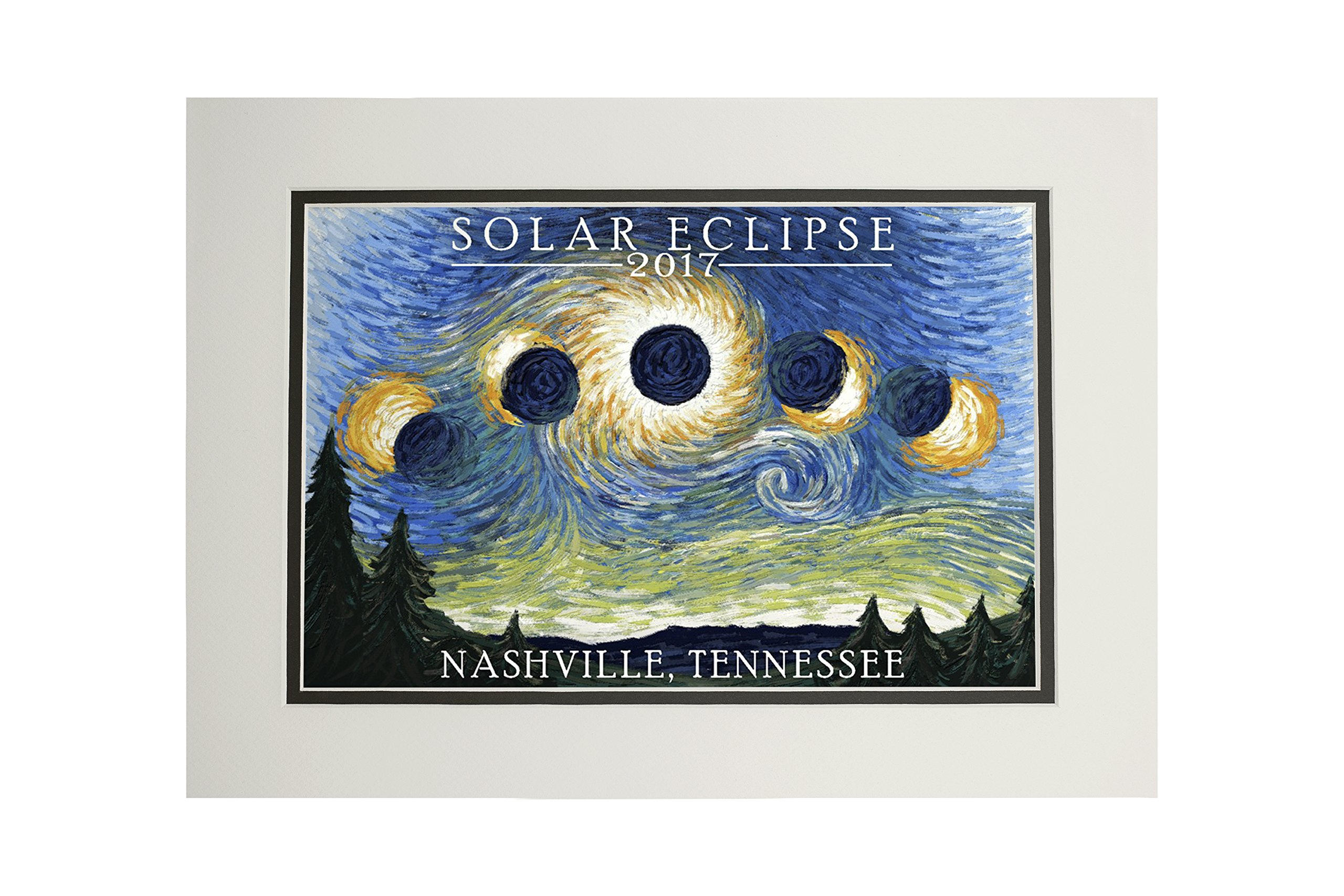 Nashville, Tennessee - Solar Eclipse 2017 - Starry Night (11x14 Double-Matted Art Print, Wall Decor Ready to Frame)