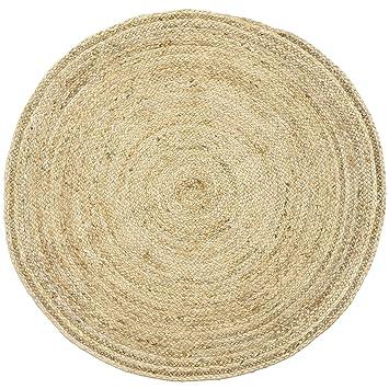 Amazon De Handgewebter Runder Jute Teppich 120 Cm Gross Teppich