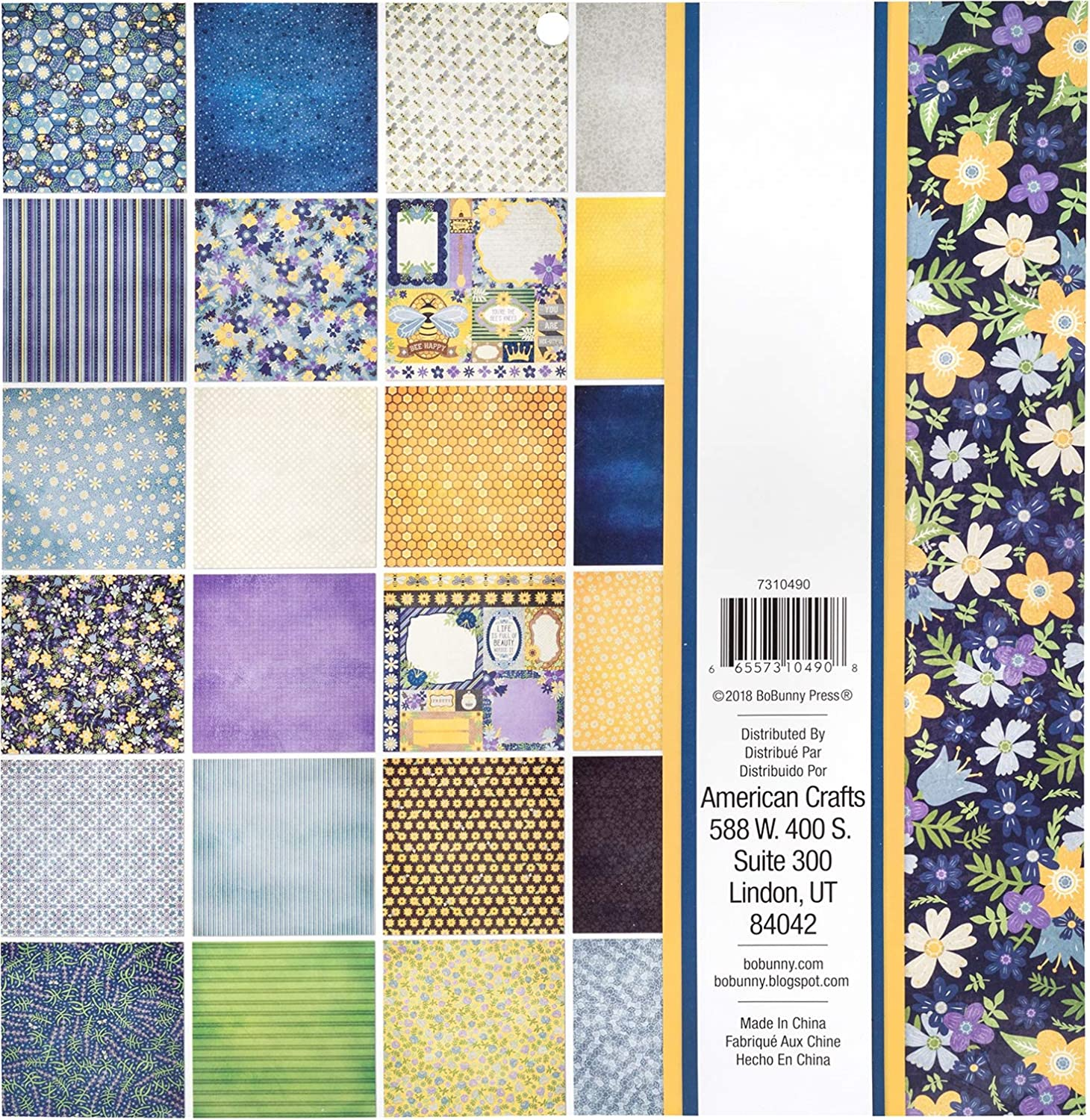 "Bobunny Single-sided Paper Pad 12/""x12/"" 48//pkg-bee-utiful You 24 Designs//2 Each"