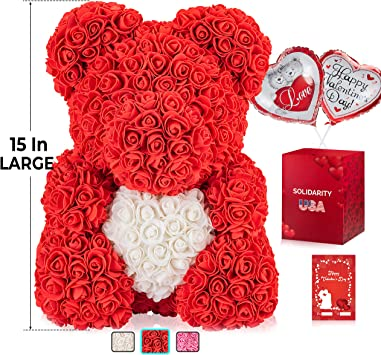 "Box Gift For Valentine/'s Day Original Red Rose Flower Teddy Bear 15/"" Wedding"