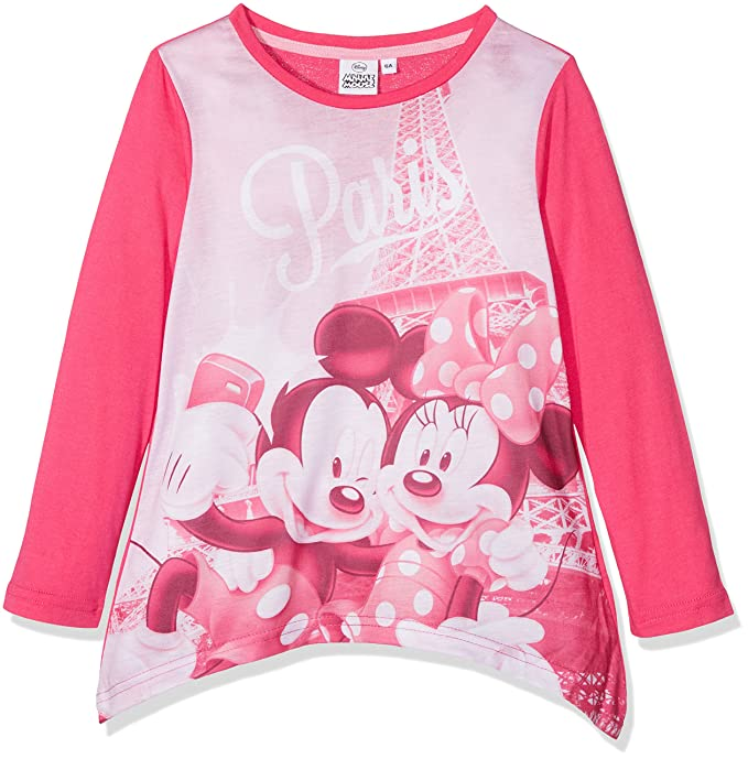 Minnie Mickey Mouse in Paris, Camiseta Nias, Rosa (Fushia 18-2436TC), 3-4 (Talla del Fabricante: 4 Años): Amazon.es: Ropa y accesorios