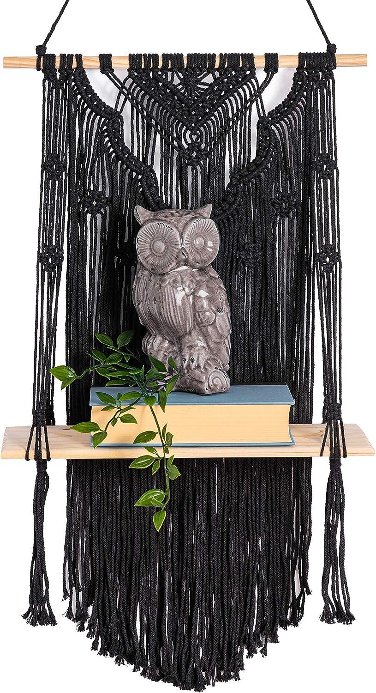 KALTEK Black Macrame Shelf with Flower Design | Boho Style with Floating Wood Shelf | Beautiful Handmade Black Macrame Shelf for Hanging Plants and Decor | Boho Wall Decor with Macrame Rope Shelving