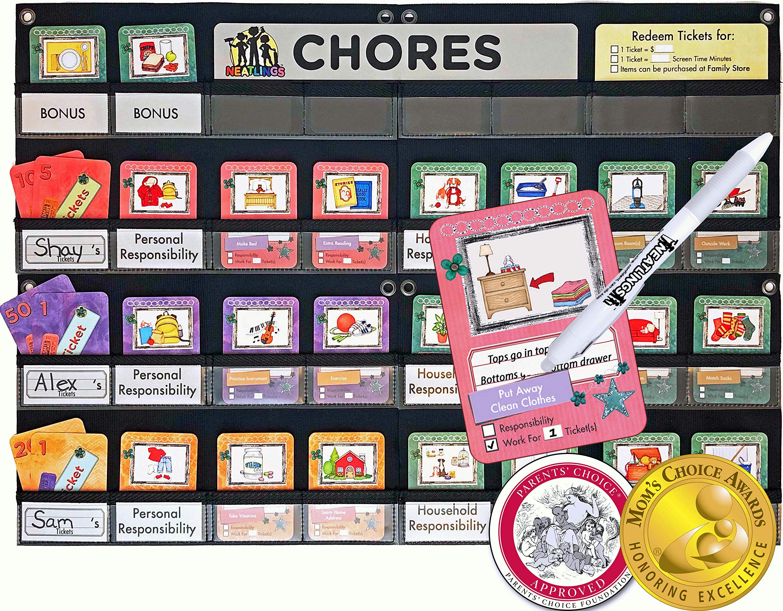 NEATLINGS Chore System - Chore Chart for Kids | 80+ Chores for Toddlers to Teens | Customize for 1-3 Kids | Size 25''x18'' | Teal Household Chore Cards/Purple, Orange, Pink Self-Care Chore Cards by NEATLINGS
