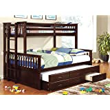Furniture of America Pammy Twin over Queen Bunk Bed, Espresso