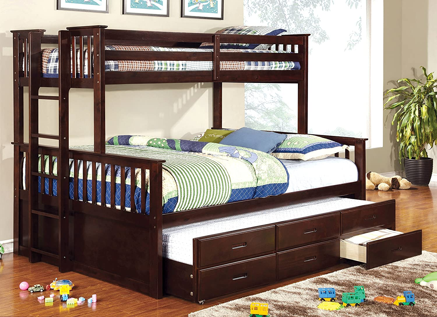 Amazon.com: Furniture Of America Pammy Twin Over Queen Bunk Bed, Espresso:  Kitchen U0026 Dining