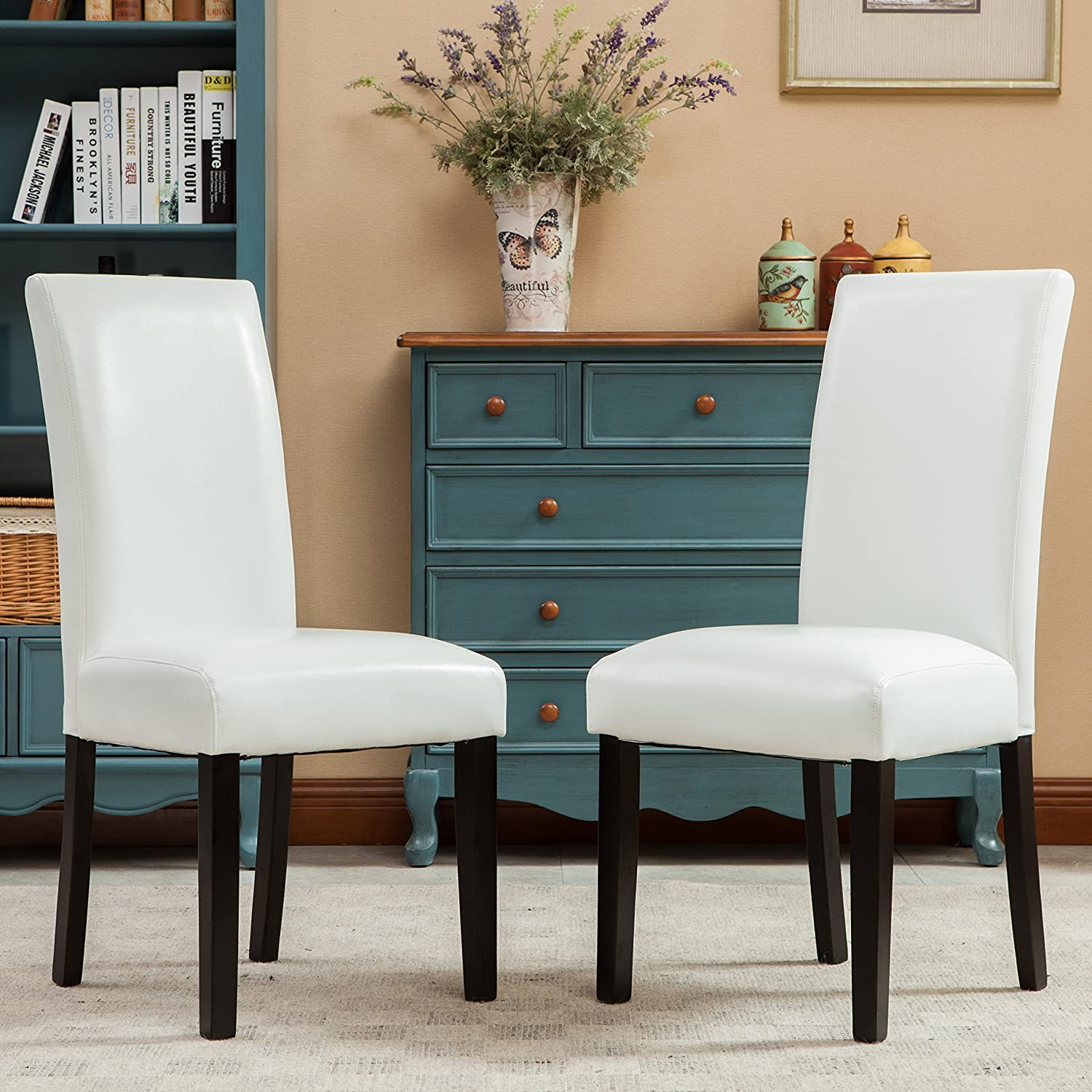Amazon.com   Roundhill Furniture Donatello Urban Style Solid Wood  Leatherette Padded Parson Chair (Set Of 2), White   Chairs