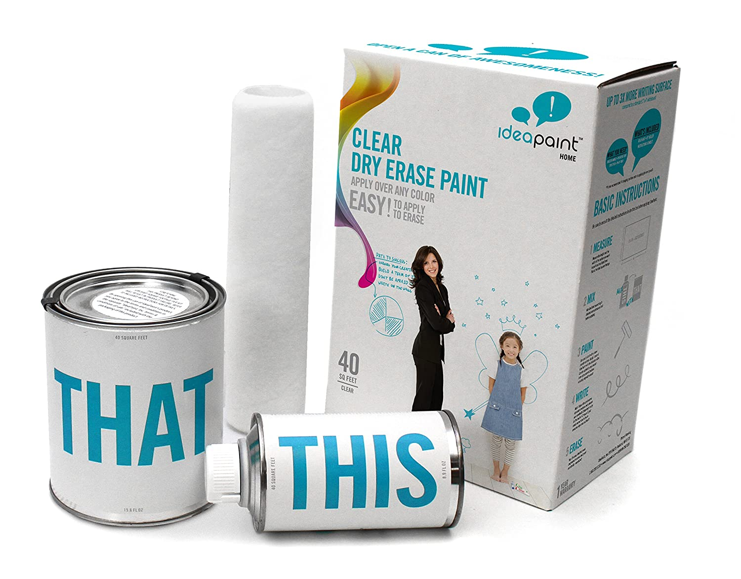 IdeaPaint Home Clear Universal Dry Erase Paint Kit, 40 sq ft   Erasable Wall or Surface Canvas