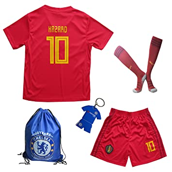promo code bbfdd bb9c0 2018 Belgium Eden HAZARD #10 Home Kids Soccer Football ...