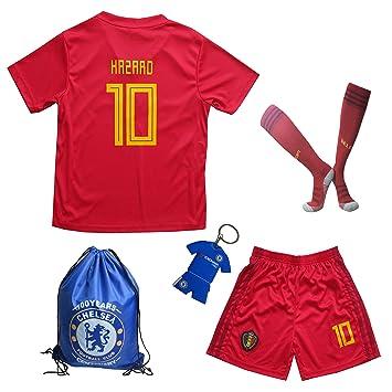 Camiseta de fútbol para niños, diseño de Bélgica Eden HAZARD #10, de 2018, 9-10 Años, Home: Amazon.es: Deportes y aire libre