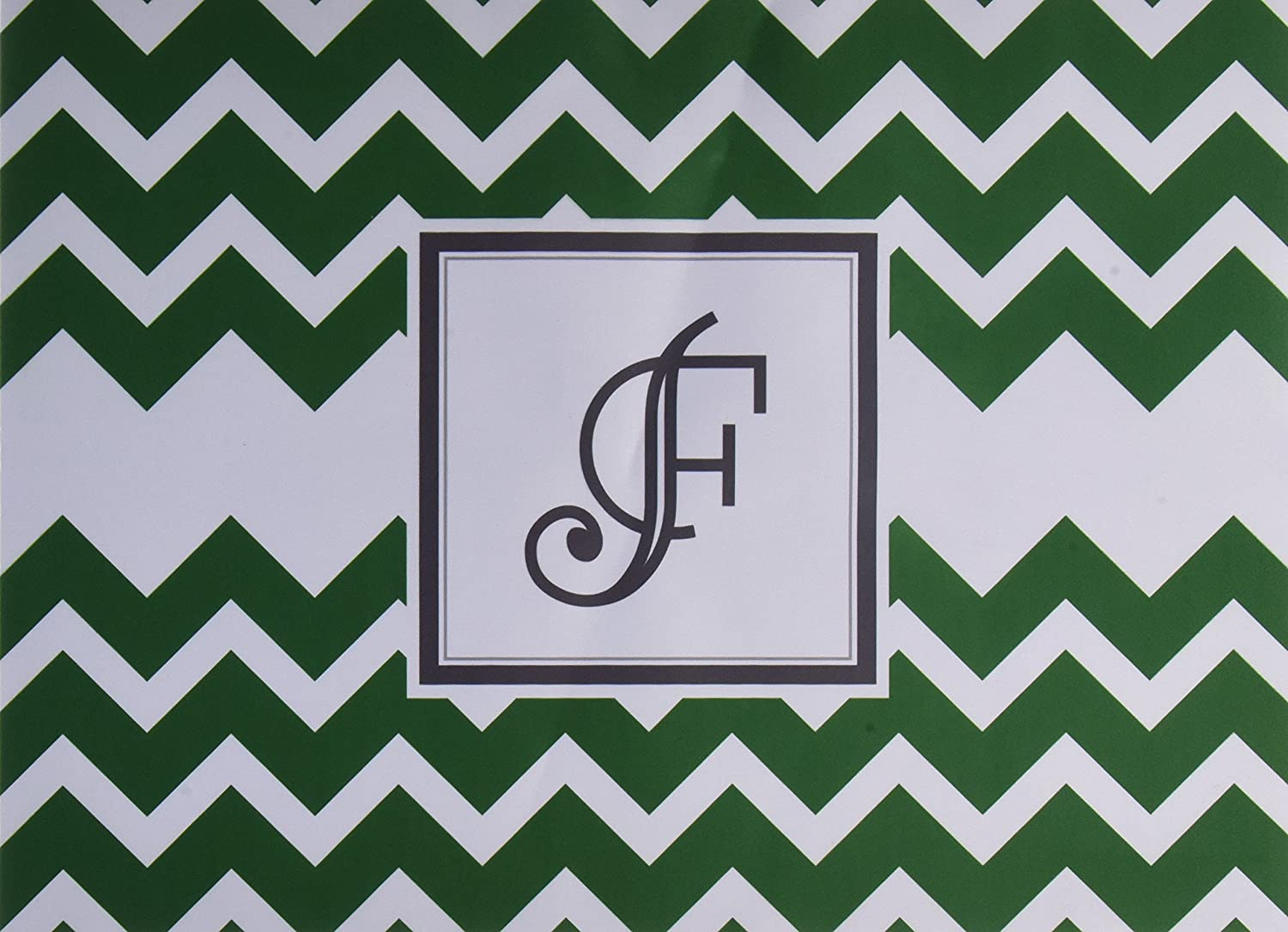 KESS InHouse Kess Original Monogram Chevron Green Letter F  Feeding Mat for Pet Bowl, 18 by 13-Inch