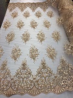 "1.5 X  Meter Orange  Floral Cotton Lace fabric dress//bridal lace Fabric 60/"" Wide"