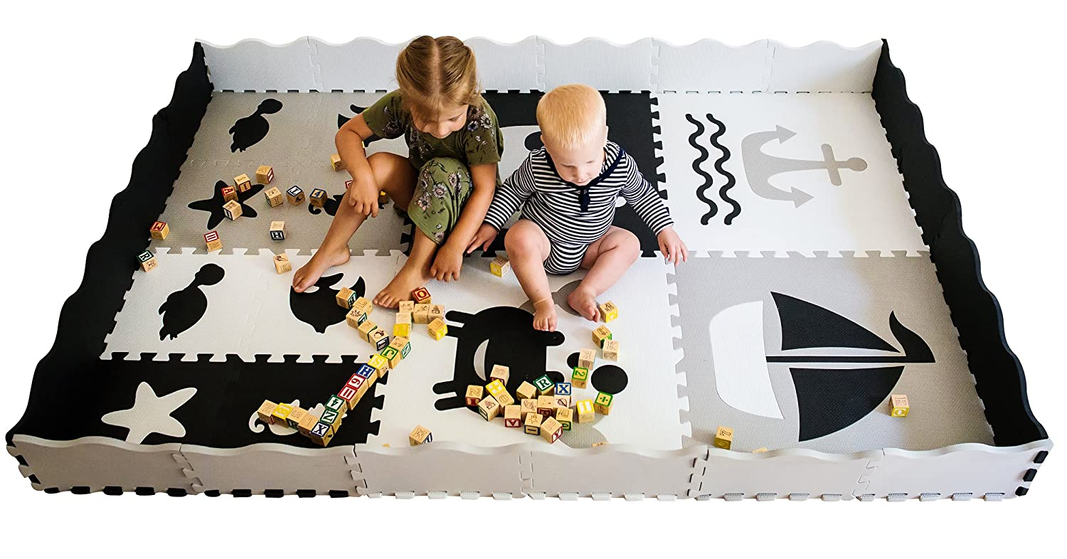 Baby Play Mat with Edges - Extra large (6ftx6ft) Interlocking Foam mat for kids with Sea Creatures Patterns | Crawling Mat for Playroom & Nursery | puzzle mat for Infants, Toddlers & Kids Cradle Plus