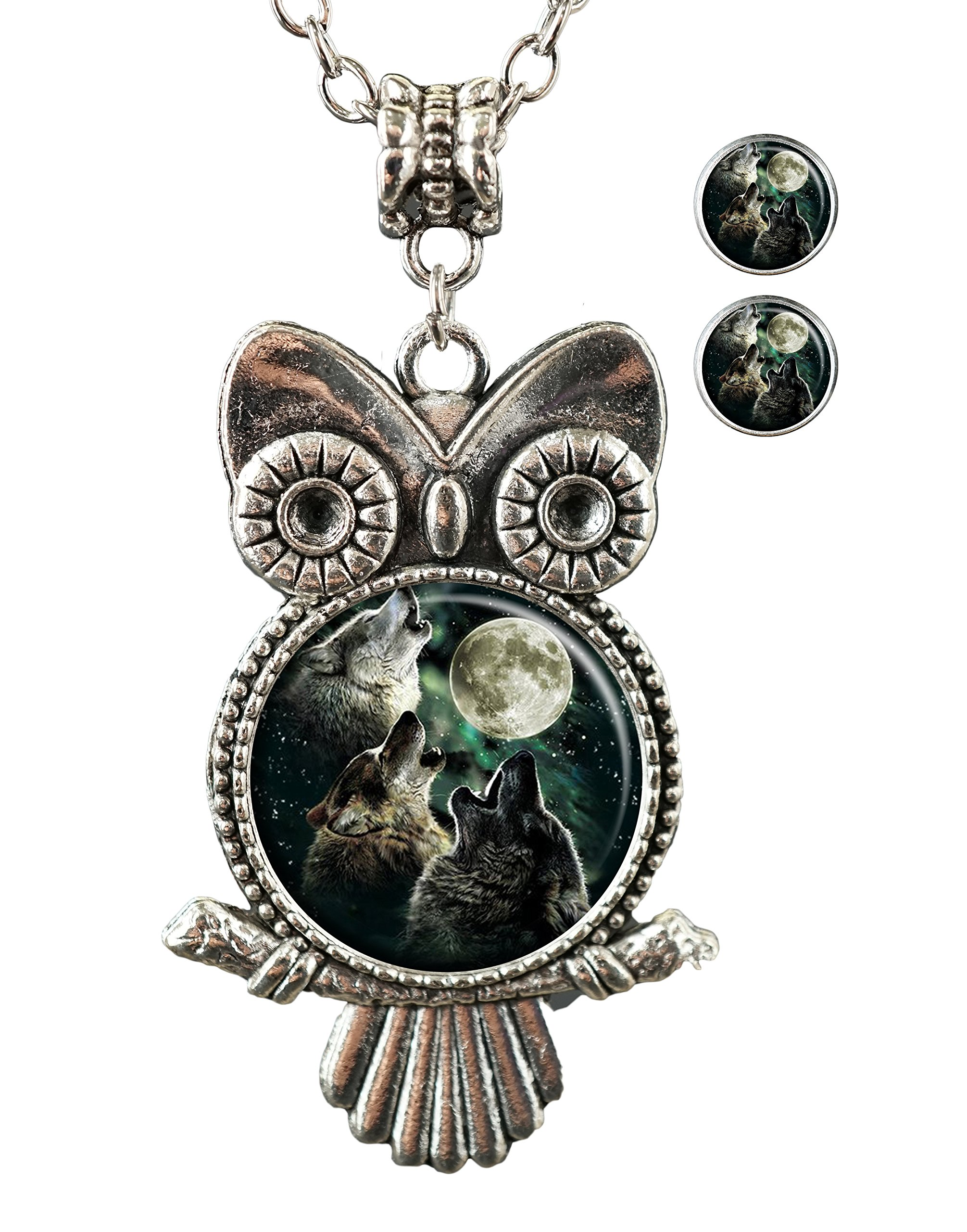 KingCow Wolf Custom Owl Pendant Necklace Stud Earrings Jewelry Set