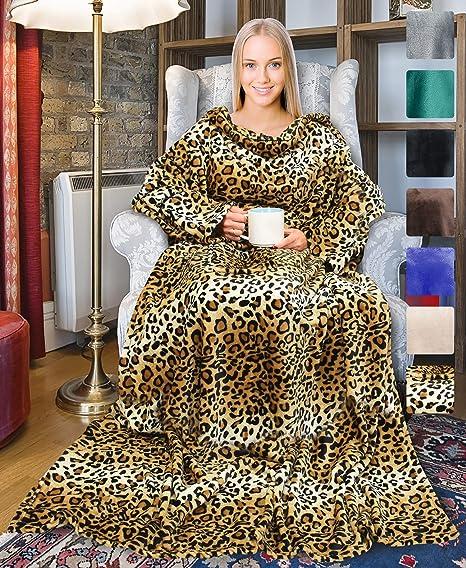 À manches longues en polaire Snuggie couverture Avec Poches Douce Snuggle Wrap Chaud Leopard