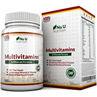 Fórmula de Multivitaminas y Minerales - 365 Comprimidos (Suministro Para Hasta 1 Año) – 24 Multivitaminas con Hierro y Minerales para Hombres y Mujeres, Comprimido Multivitamínico Apto para Vegetarianos, por Nu U Nutrition