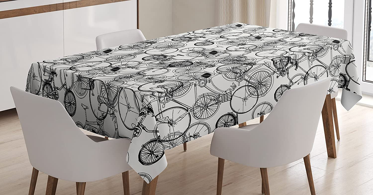 Ambesonne Sketchy Tablecloth, Vintage Retro Bicycle Bike Hand Drawn Vector Abstract Design Image Artwork, Dining Room Kitchen Rectangular Table Cover, 60 W X 90 L Inches, Black and White