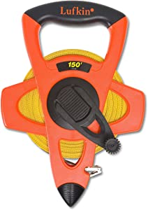 "Crescent Lufkin 1/2"" x 150' Hi-Viz Orange Fiberglass Tape Measure - FE150"