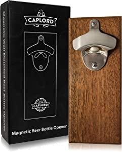 Wall Mount Bottle Opener with Embedded Magnetic Cap Catcher in Solid Wood, Fridge Mountable by CAPLORD - Novelty Beer Lovers Gifts for Men & Women, Cool Birthday Gift Idea (chocolatewood 001)