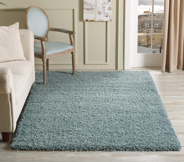 Serdim Rugs Living Room Shaggy Area Rugs Polypropylene Duck Egg Blue 200x290cm 6 7 X9 6 Amazon Co Uk Kitchen Home