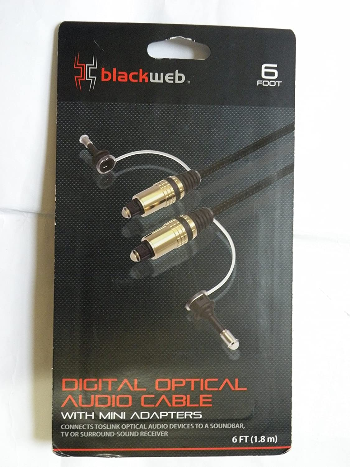 New BLACKWEB 6 Foot Digital Optical  Audio Cable With Mini Adapter
