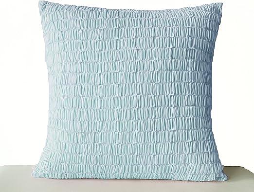 Hecho de algodón azul - cojín de gasa Ruched cojín - azul - Funda de cojín de algodón plisado