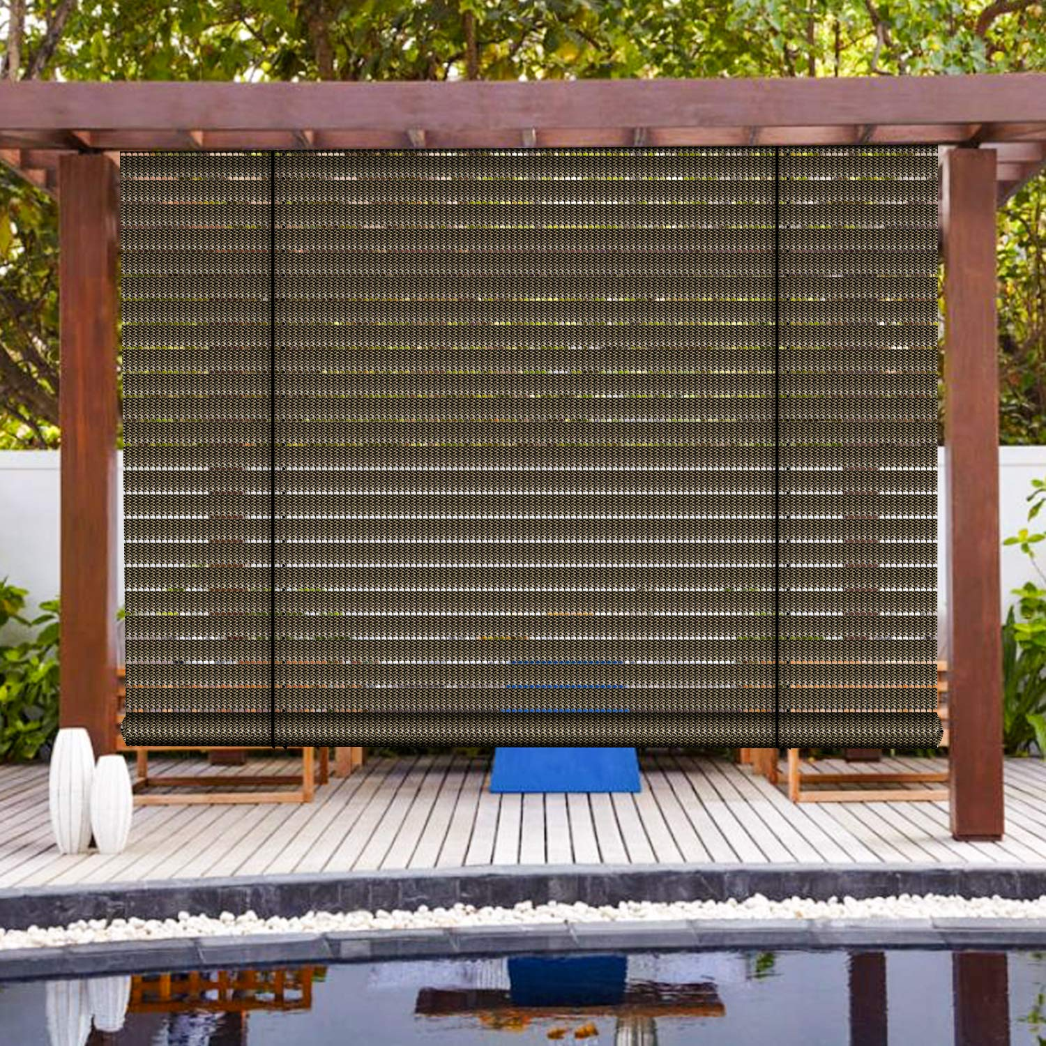 Patio Paradise Exterior Outdoor Roll up Shades Blinds Roller Shade 6Wx6H for Porch Deck Balcony Pergola Carport Light Filtering Hollow Out Striped Brown