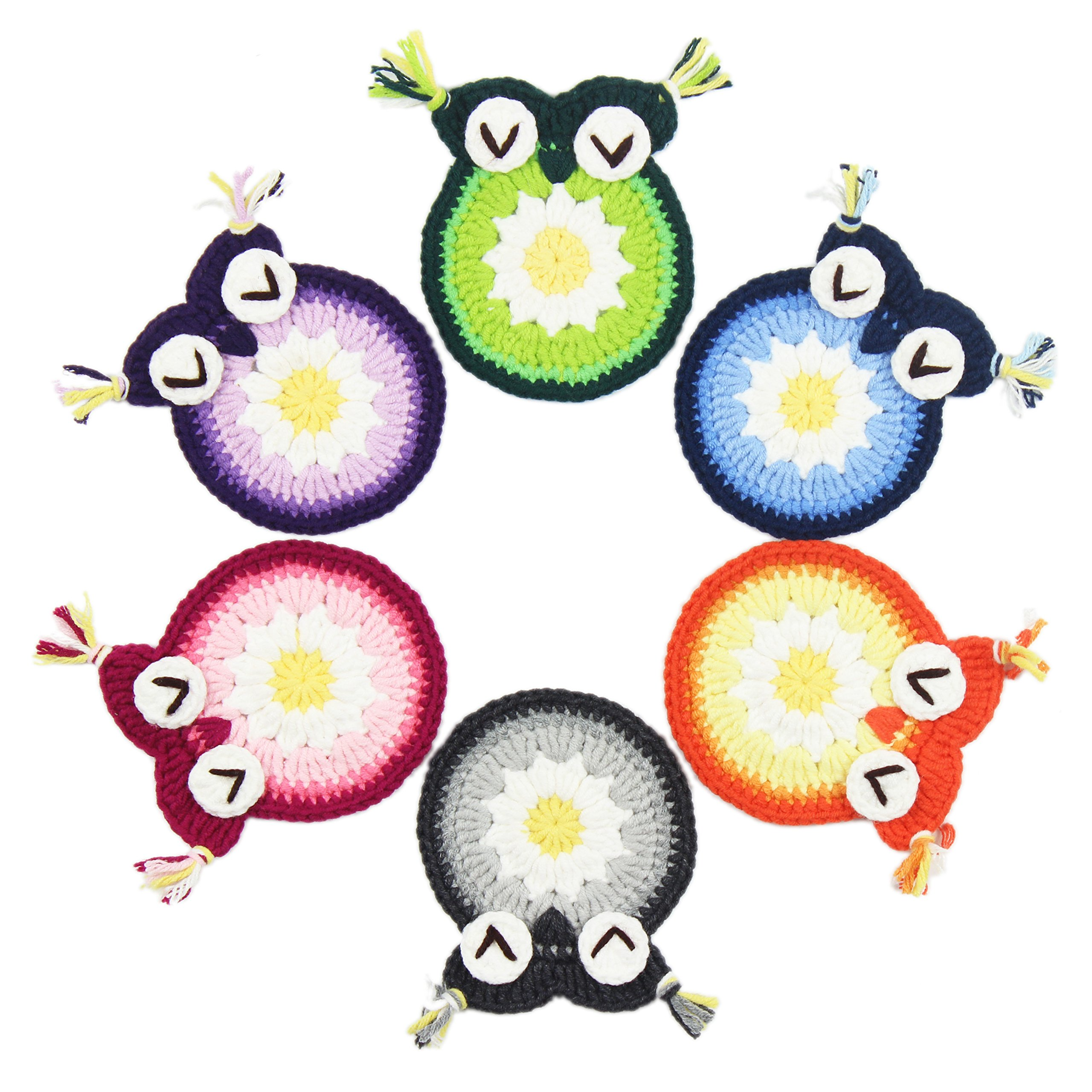 KEPSWET 6PCS Handmade Crochet Cute Owl Coasters Set Cotton Drink Mats Multi Colored Animal Pattern Table Place Mats Doilies Value Pack Set of 6 (3.15x3.15 Inch, Multicolor)
