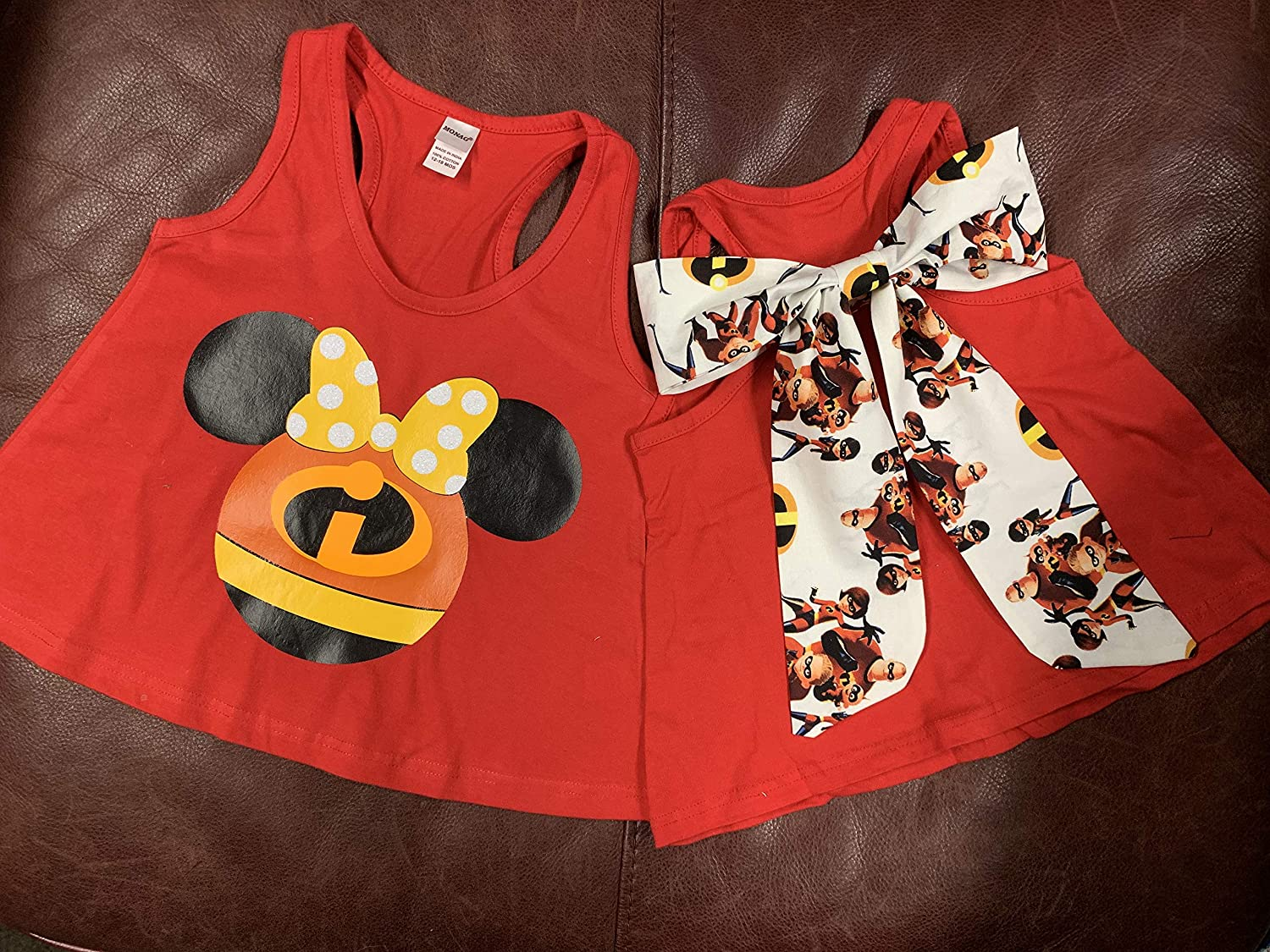 Handmade Disney Shirt Incredibles Family with Detachable Incredibles Bow on Back of shirts