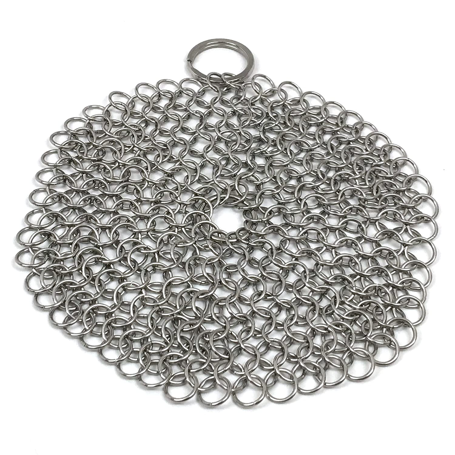 Stainless Steel Cast Iron Cleaner Chainmail Scrubber for Skillets, Griddles, Pans or Woks