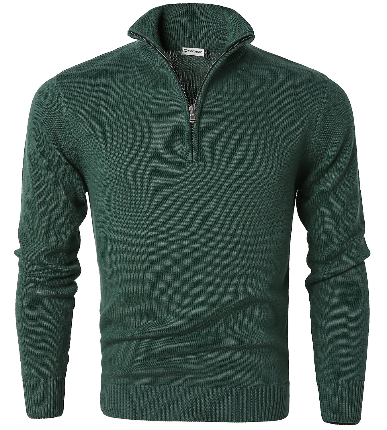 MOCOTONO Mens Long Sleeve Turtle Neck Zip Pullover Sweater Green X-Large
