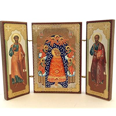 BuyRussianGifts Orthodox Russian ICON 'Addition of Mind Virgin Mary Saint Peter Pavel: Toys & Games