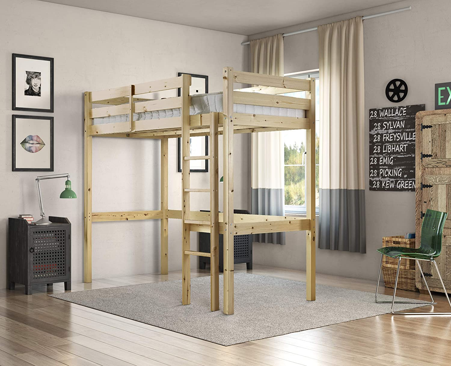 4ft 6 Double Celeste High Sleeper Loft Bunk Bed with Sprung Mattress Strictly Beds and Bunks 15 cm