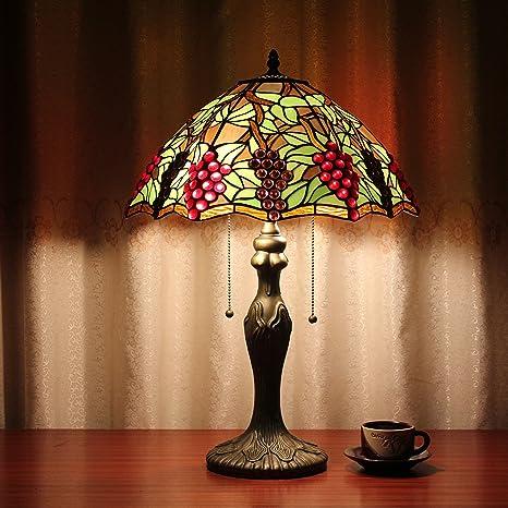16 pulgadas Racimos de uvas Europea Tiffany lámpara de mesa ...