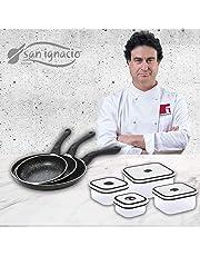 San Ignacio Black&Marble Set de 3 sartenes + 4 recipientes herméticos, fiambreras