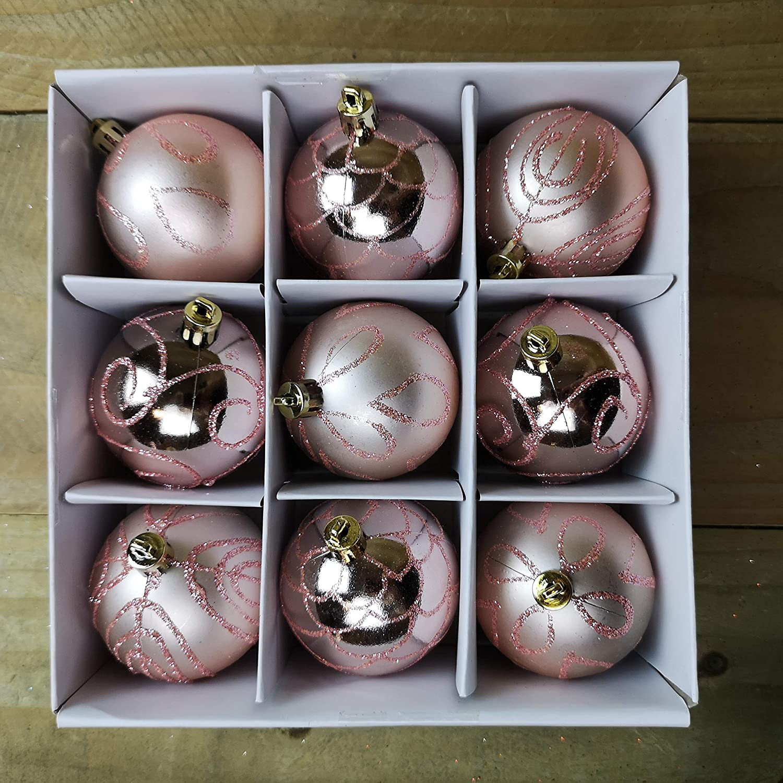 christmasshop PMS 24Stück 6cm Kugeln in PVC Box Rose Gold