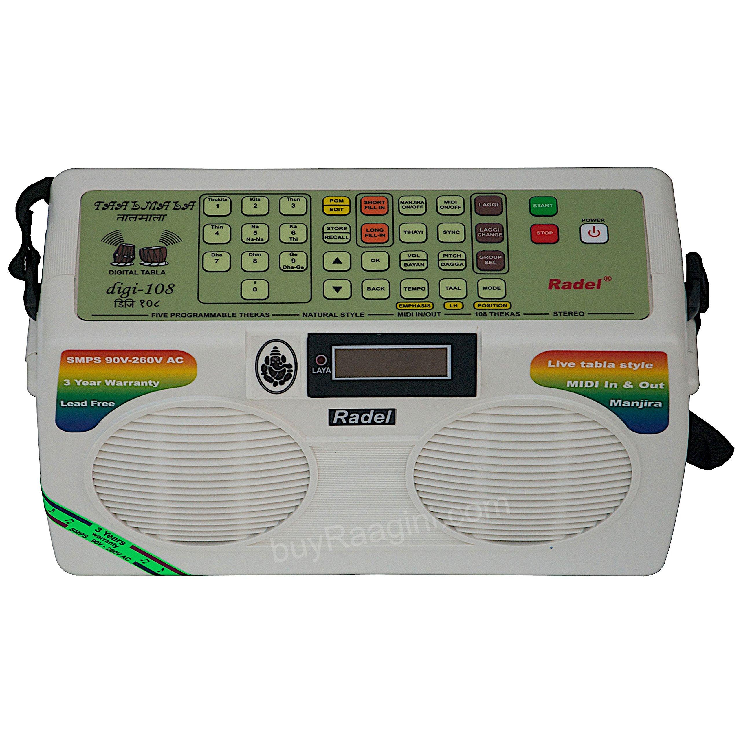 Electronic Tabla - RADEL Taalmala - Digi 108, Electronic Tabla & Manjira - Tabla Sampler, DJ Tabla Sound Machine, Instruction Manual, Power Cord, Bag (US-PDI-AAF) by Radel at buyRaagini.com (Image #3)
