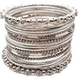YouBella Antique Look Jewellery Silver Plated Traditional Bracelet Bangles Set for Women