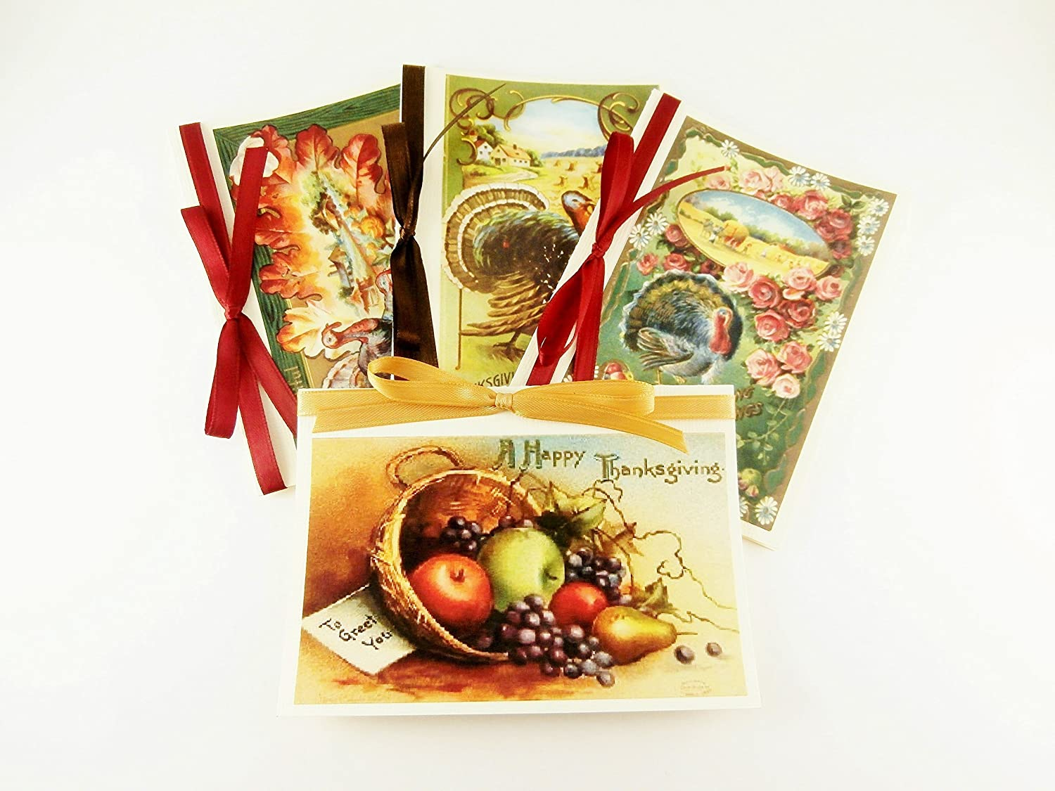 Thanksgiving Greetings - Set of 4 Vintage-Style Cards - A1 Size