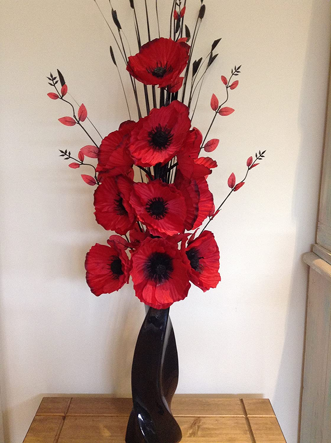 Artificial silk flower arrangement in red poppies in black modern artificial silk flower arrangement in red poppies in black modern vase amazon kitchen home mightylinksfo