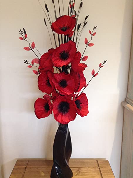 Artificial silk flower arrangement in red poppies in black modern artificial silk flower arrangement in red poppies in black modern vase mightylinksfo