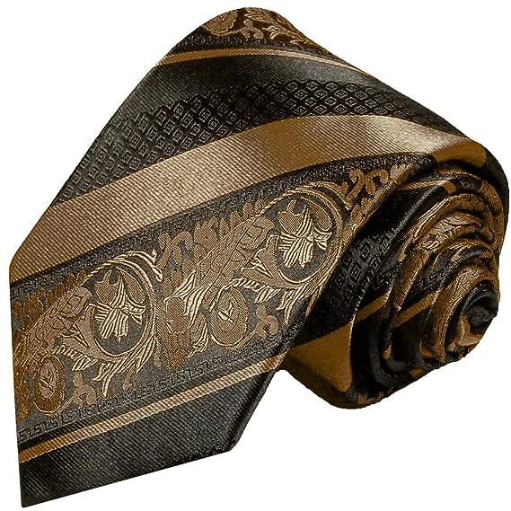 c698570ad4b09 Cravate homme brun rayé noir 100% soie: Amazon.fr: Vêtements et ...