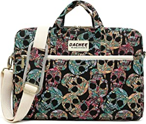 DACHEE Gothic Skull Pattern Waterproof Laptop Shoulder Messenger Bag Case Sleeve for 12 inch 13 inch Laptop and 11/12/13.3 inch (13 inch/13.3 inch)