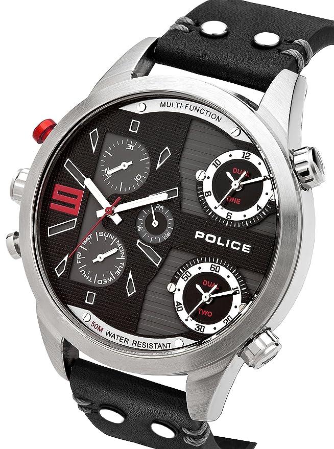 Police 14374XSUG/02. Reloj de Pulsera con cronógrafo para Hombre (Mecanismo de Cuarzo, Esfera Negra y Correa de Piel Negra): Police: Amazon.es: Relojes