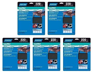 5-Pack Norton 48090 Sand Wet Sandpaper 220 Grit 9-Inch x 11-Inch