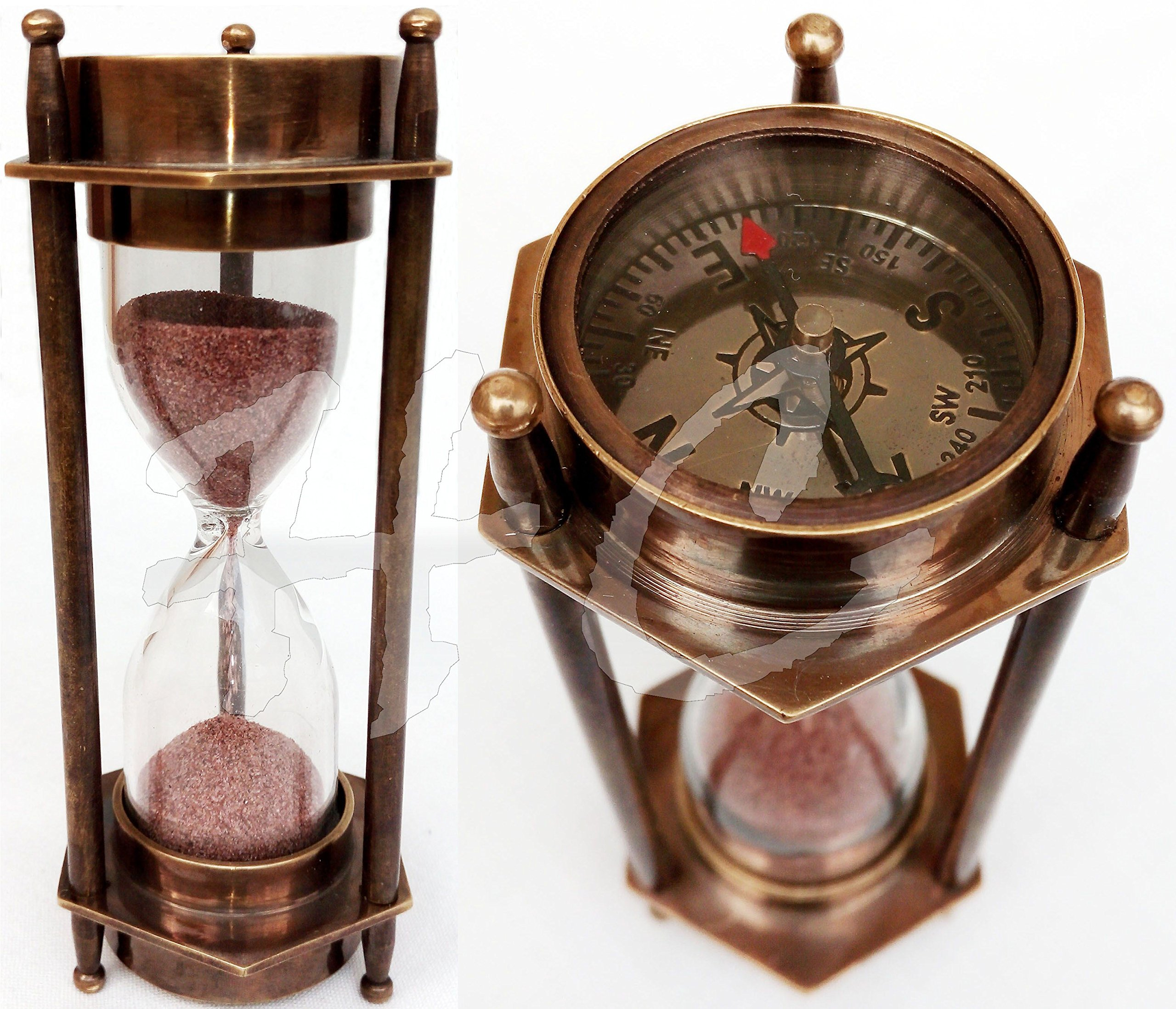 Decorative Brass Sand Timer Hourglass With Antique Maritime Brass - Decorative-hourglass