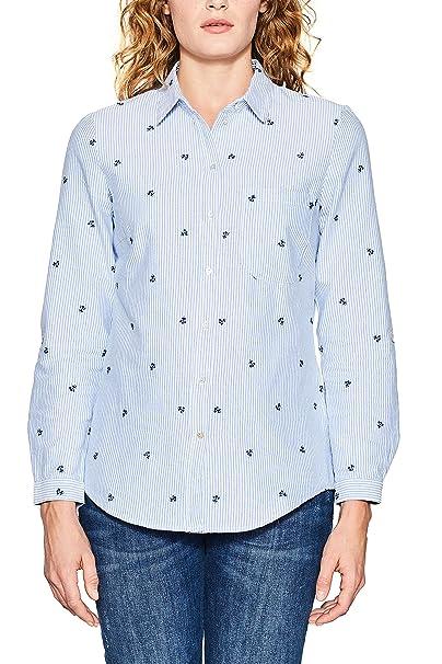 Esprit 018ee1f008, Blusa para Mujer, Multicolor (Light Blue 440), 34