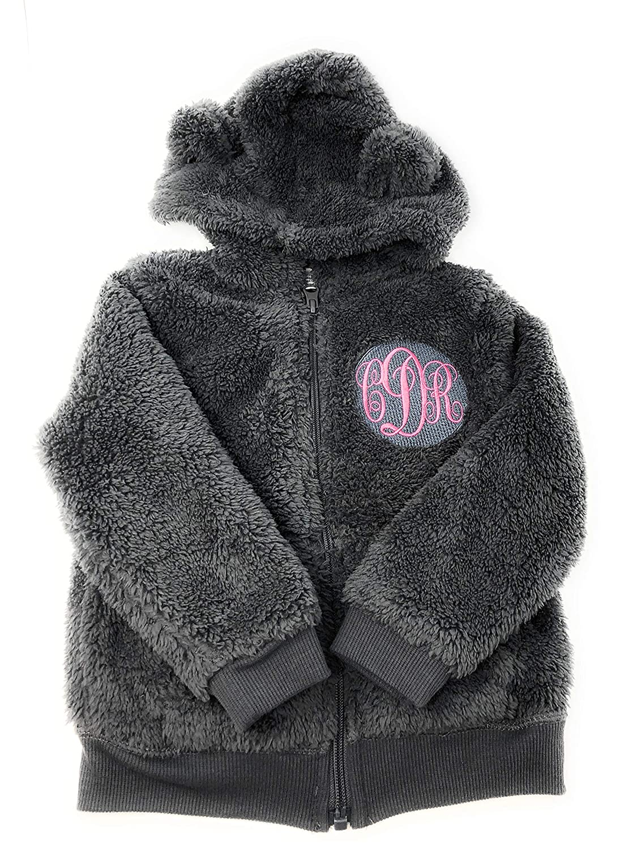 Custom Monogrammed Baby Sherpa Zip Up Jacket Gray