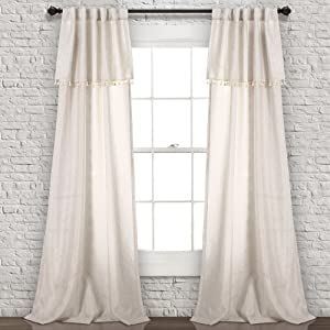 "Lush Decor Ivy Tassel Window Curtain Panel Pair 84"" x 40"" Neutral"