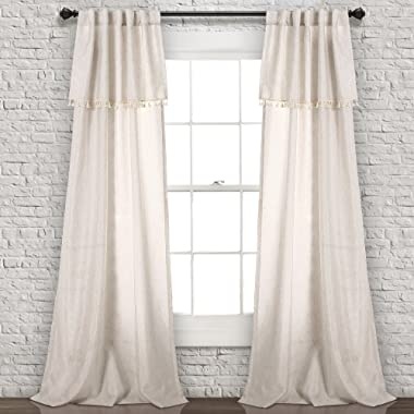 Lush Decor Ivy Tassel Window Curtain Panel Pair, 84  x 40 , Neutral