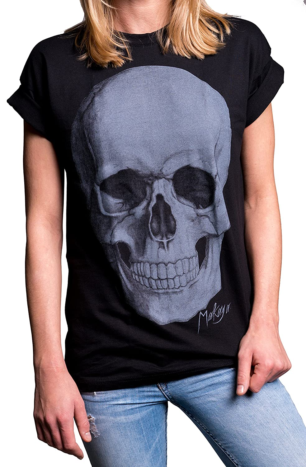 aa40ddd855 Amazon.com  MAKAYA Gothic Clothing - Skull Top Plus Size - Oversized T Shirt  Black  Clothing